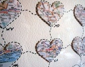 Map Art - Personalized Anniversary or Wedding Gift - Map Hearts Wall Art