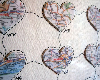 Personalized Wedding Map Gift - Personalized Anniversary or Wedding Gift - Map Hearts Wall Art - Design #37