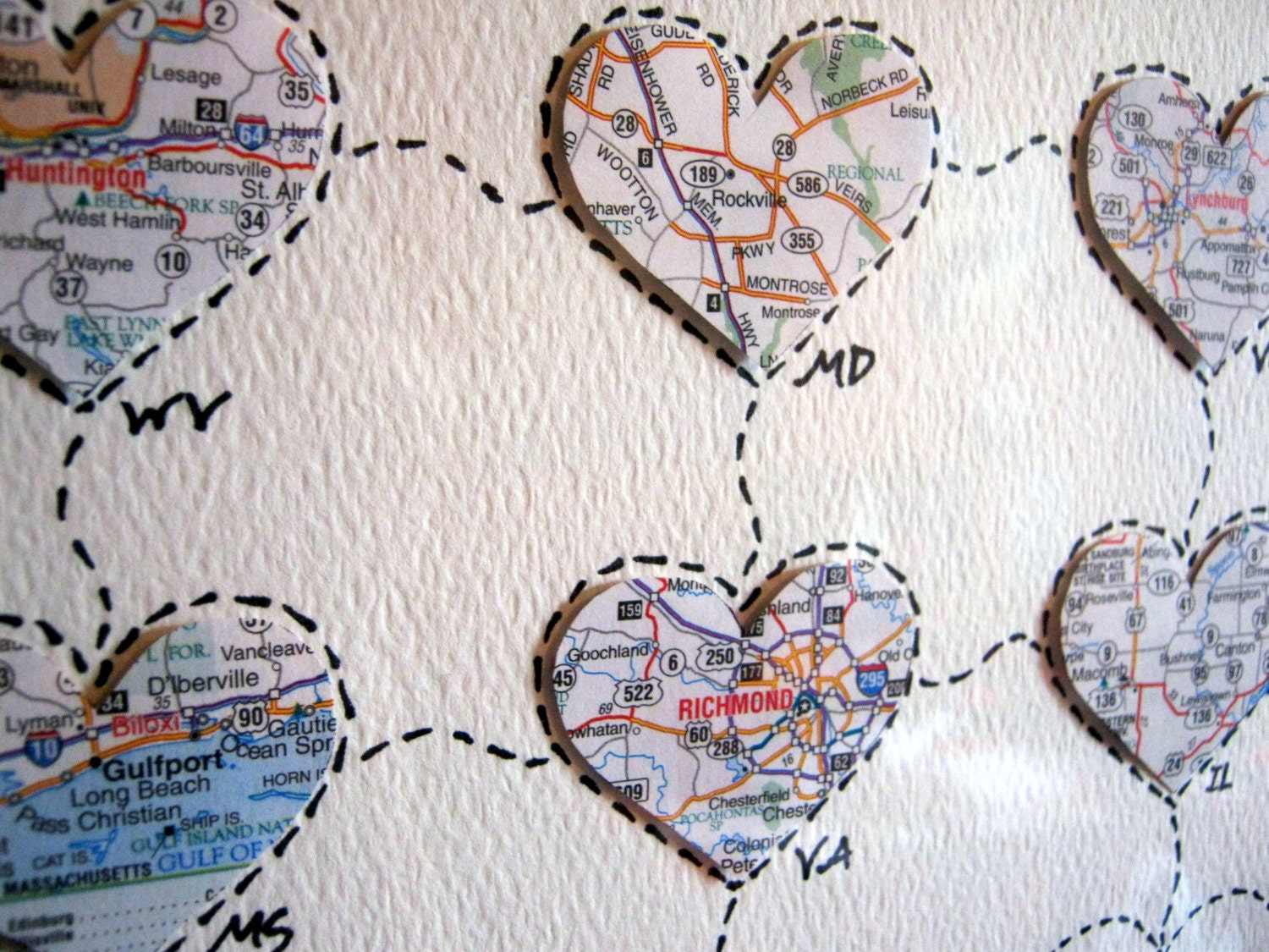 Map Art Wedding Gift : Personalized Wedding Map Gift Personalized Anniversary or