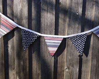Patriotic Americana Fabric Bunting Banner Stars & Stripes