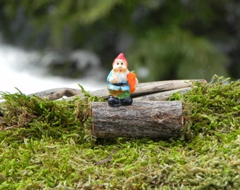 Fairy Garden Gnome on log - miniature accessories for terrarium - woodland gnome - fairy garden accessory - wood slice - tiny gnome