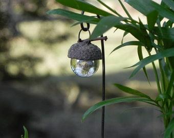 Miniature Fairy Garden Acorn Cap Lantern - clear - terrarium accessories - fairy garden accessory - handmade handcrafted