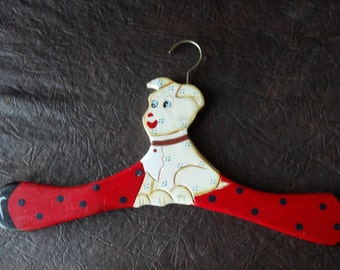 Retro Vintage Child Hand Painted Hanger beautiful doggy