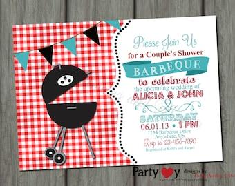 Couple's BBQ Wedding Shower Invitation - Digital File