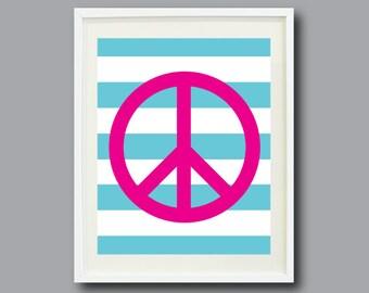 Striped Peace Sign Art Print 11x14-Nursery, Kids Room, Playroom, Teen-Hot Pink, Aqua Blue, White OR Choose Color-Modern Wall Art