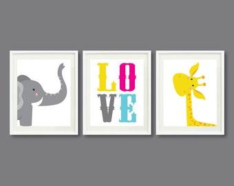 Nursery Art Print Set of Three 11x14-Kids Room-Nursery-Home Decor-Hot Pink-Yellow-Blue-Grey-Giraffe-Elephant-LOVE-Modern Wall Art-Trio-3