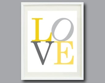 love art print 11x14 typography print nursery kids room home decor
