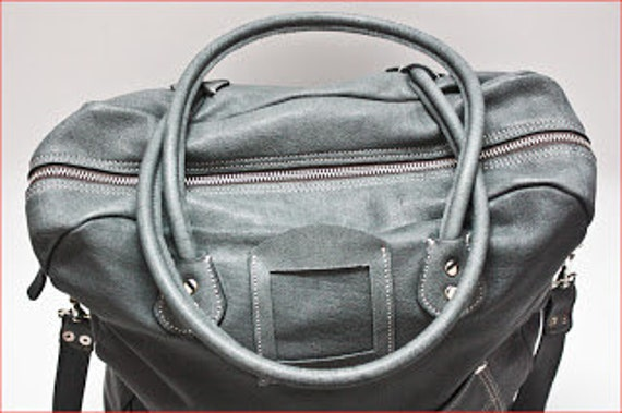 Business Laptop Bag, Messenger Bag and A gift from us: Business Cards Case,Handmade Gray Laptop bag, Genuine Leather Bag
