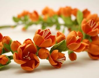 Chaenomeles flowers crown. Hair wreath. Polymer clay flowers. Wedding headband