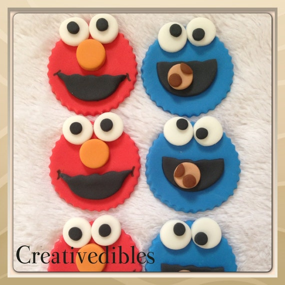 Elmo And Cookie Monster Inspired Fondant Cupcake and Cookie