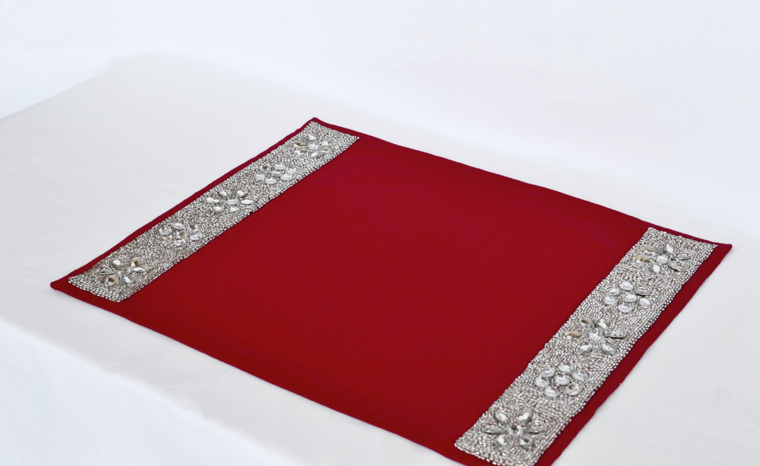 Dining Room Placemats Sequin Placemats Set Of 4 Red Placemats Diamond Glaze