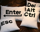 Ctrl Alt Del Enter Esc  pillow cushion cover set, computer keys, Black, Ivory.
