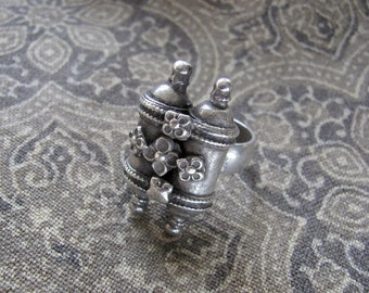 Heavy Tribal Silver Double-Amulet Ring from Rajasthan