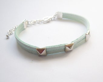 Pastel Mint Green Suede Bracelet with Silver Pyramid Spikes