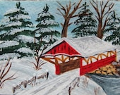 ACEO original Art Landscape Red Covered Bridge Snow Winter aceo by Ch.F.