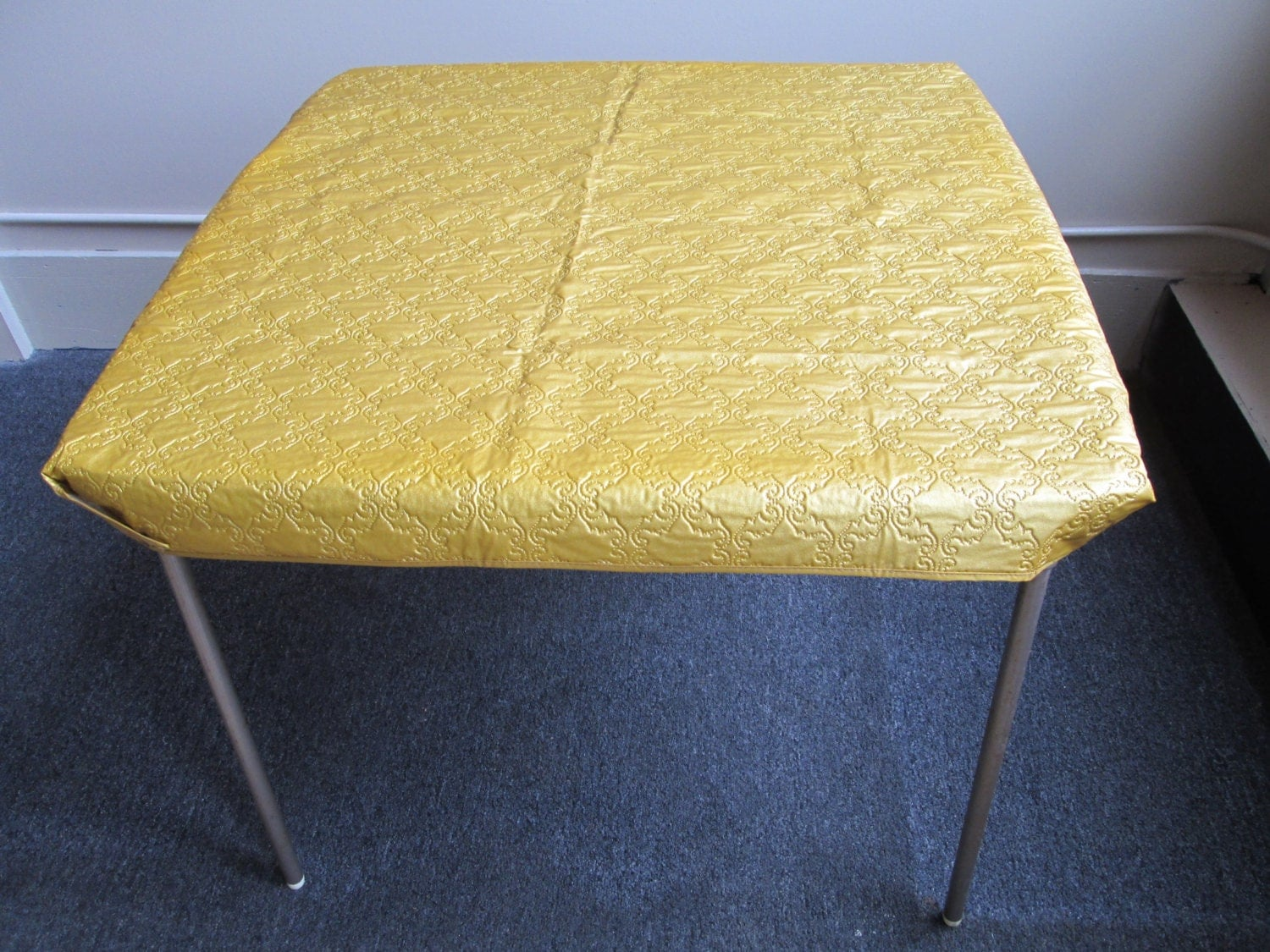 Gold Quilted Vinyl Card Table Cover