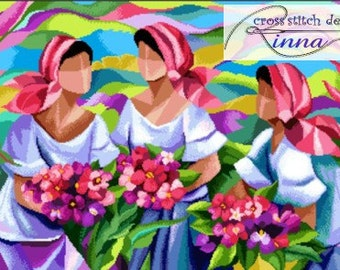Filipino Art in Cross Stitch- Three Marias of Spring