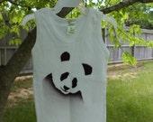 Ribbed tank top for toddler 18-24 months organic cotton cute airbrushed panda design black on white adorable kids tank top panda graphic