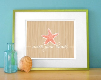 Starfish Bathroom Art -  Tropical Bathroom Prints - Starfish Decor - Tropical Bath Decor - Wash Your Hands Print - Coral Aqua Beige
