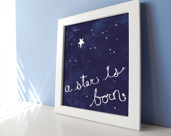Celestial Nursery Baby Boy Art Print with Stars in Navy Blue - A Star is Born - 8x10 Kids Room Wall Art