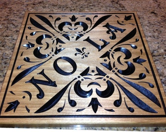 Large Custom Carved Stained NOLA New Orleans Sign