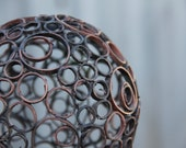 Small 12.5 cm, mixed copper ring ball, Copper sphere, Metal sculpture
