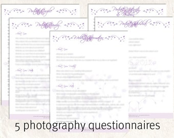 INSTANT DOWNLOAD Photography questionnaires, portrait and wedding marketing branding forms 10 editable files