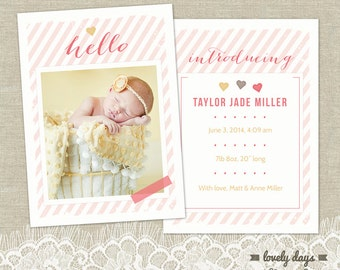 Girl Birth Announcement template for photographers INSTANT DOWNLOAD