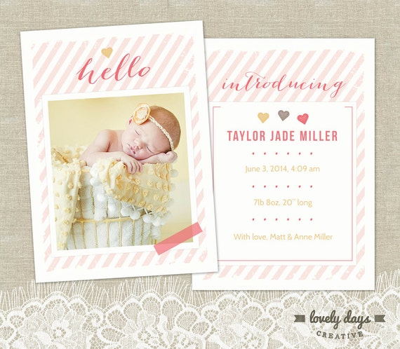 girl birth announcement template for photographers instant. Black Bedroom Furniture Sets. Home Design Ideas