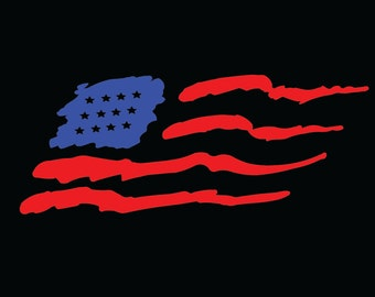 Large Size Wavy American Flag vinyl sticker decal for car back window