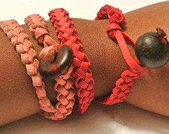 Handwoven Leather Double Wrap Bracelet- Black, Brown, Pink, Red, White