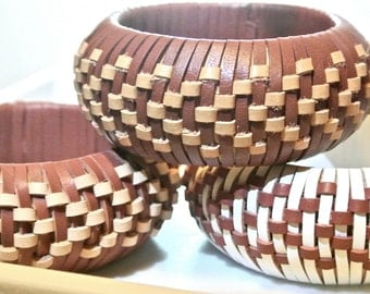 Leather Bangle Woven in a Chevron Pattern