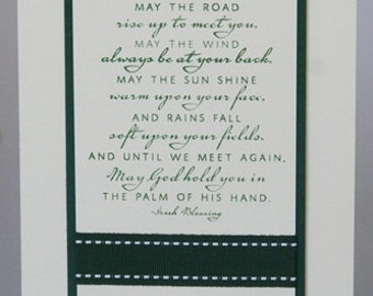 May the Road Rise to Meet You Irish Blessing St. Patrick's or All Occasion Hand Made Card