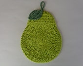 Pear Pot Holder crocheted in hot green, yellow, or burgundy  cotton