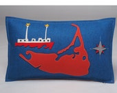 Nantucket Map Pillow with Nantucket Lightship Ferry and Compass in Orange-Red and Blue Wool Felt, Perfect Nantucket Keepsake or Hostess Gift