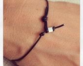 Bracelet Simple 01 Sterling .925 Leather Handmade - Black (B401SS-LBK)