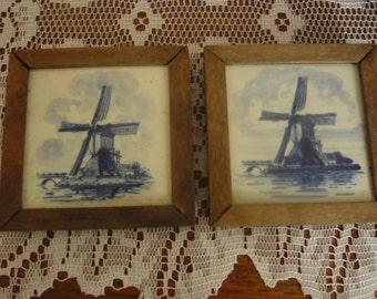 """Vintage Rustic Framed Blue Delft 3 1/2"""" Tiles Windmills  Handpainted"""