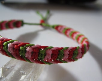 Green Red & Pink Friendship/Surf Bracelet Macrame Handmade