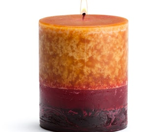 "Stone Candles 3"" x 3"" Fresh Pillar Candle, Karachi Blood Orange"