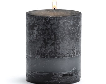 "Stone Candles 3"" x 3"" Fresh Pillar Candle, Black Bamboo"