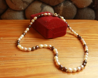 Vintage Pearl Necklace - fresh water pearls with silver clasp