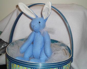 Bunny Rabbit in Blue Handmade Soft Sculpted Stuffed Animal Cloth Doll Baby Easter Basket Ready decoration toy plush boy