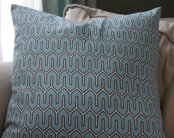 Blue brown and white geometric Pillow cover 18x18