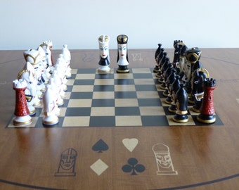 King Arthur Theme Ceramic Chess Set  Bust Style  w/ Leatherette Board