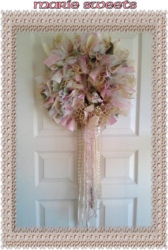 ONE-OF-A-KIND Gorgeous Handcrafted Shabby Chic Victorian Burlap Lace Bird Nest  Door Wreath