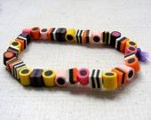 Licorice allsorts fimo clay beaded bracelet