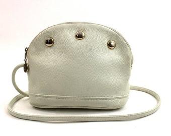 SALE white leather Liz Claiborne cross body bag / studded leather purse