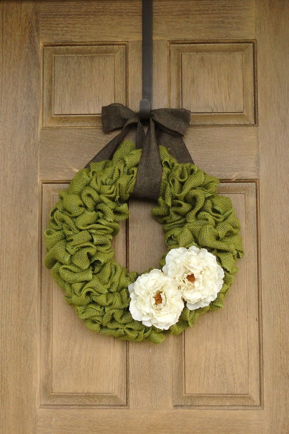 Spring Green Burlap Wreath with Ivory Peony FlowersAvocado