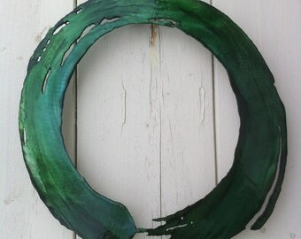 Green Zen Circle Metal Art