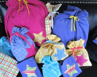 Christmas or Birthday Gift Bag Collection Super Bright Star 11 Cloth Bags